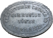 Communion token - Presbyterian Church in Ireland – obverse