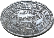 Communion token - Presbyterian Church in Ireland – reverse