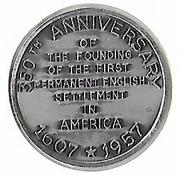 Token - Jamestown (350th Anniversary) – reverse