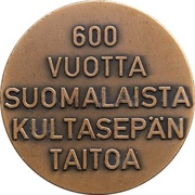 Medal - 600 Years of Finnish Goldsmith Art – reverse