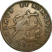Token - Samuel and David / Remus and Romulus (Hans Krauwinkel; Nuremberg) – reverse