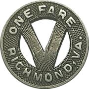 1 Fare - Virginia Railway & Power Co. (Richmond, Virginia) – reverse
