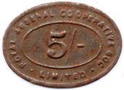 5 Shillings - Royal Arsenal Cooperative Soc Limited – obverse