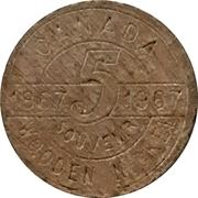 Wooden Nickel - Canada's Centennial – reverse