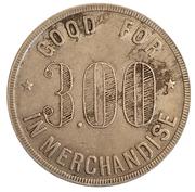 3 Dollars - H. W. Tiemeier General Merchandise (Lincolnville and Tampa, Kansas) – reverse