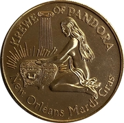 Mardi Gras Token - Krewe of Pandora (Pandora in Psychedelphia; New Orleans, Louisiana) – reverse