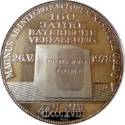 Medallion - 160 Years of Bayern Constitution – reverse