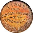 Civil War Merchant Token - T. Ivory, Billiard Saloon (Brooklyn NY) – obverse