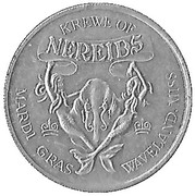 Mardi Gras Token - Krewe of Nereids (The Adventures of Alice; Waveland, Mississippi) – obverse