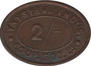 2 Shillings - Ynysybwl Indus. Co-Op  Soc. Ltd. (Ynysybwl, Mid Glamorgan, Wales) – obverse