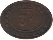 3 Pence - Ynysybwl Indus. Co-Op. Soc. Ltd. Ynysybwl, Mid Glamorgan, Wales – obverse