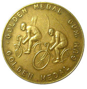 Golden Medal Gum (Cycling; 2 cyclist) – obverse