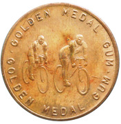 Golden Medal Gum (Cycling; 2 cyclists facing right) – obverse