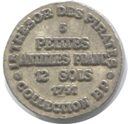 Token - Collection BP - Le Trésor des pirates (№3 - Petites Antilles Franc 12 Sols 1731) – reverse