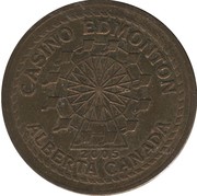 50 Cent Gaming Token - Casino Edmonton (Edmonton, Alberta) – obverse