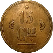 15 Centavos - M. J. Zamora (Santo Domingo, Heredia) – reverse