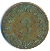 3 Cents - P. Hohenadel Jr. & Co., Cassville, Wis / Daniel G. Trench & Co. Canning Factory Outfitters, Chicago – obverse