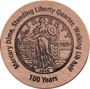 Wooden Nickel (Standing Liberty Quarter) – reverse