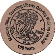 Wooden Nickel (Walking Liberty Half Dollar) – reverse