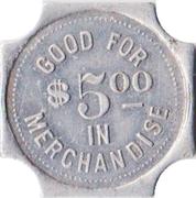 5 Dollars - Weaver & Recroft General Merchandise (Valparaiso, Nebraska) – reverse