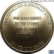 Subscriber Medal - Sydney 2000 Olympics $5 Coin Series -  reverse