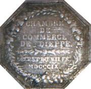Jeton octogonal Louis XVIII Chambre de commerce de Dieppe – reverse