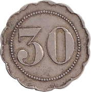 "30 Centimes (Countermarked ""P"") – reverse"