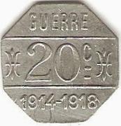20 Centimes - Café Terminus , A. Parrain - Issoire [63] – reverse