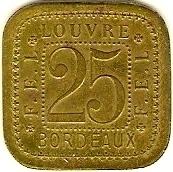 25 Centimes F.E.L - Louvre - Bordeaux [33] – reverse