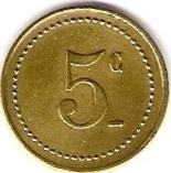 5 Centimes - Grande Taverne - Belfort [90] – reverse