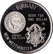 Souvenir Dollar - New Westminster and Burnaby, British Columbia – reverse