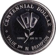 Centennial Dollar - Brampton, Ontario – reverse