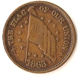 1 Cent (Civil War Token - Army and Navy/Flag of Our Union) – obverse