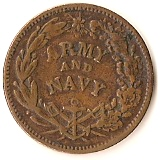 1 Cent (Civil War Token - Army and Navy/Flag of Our Union) – reverse
