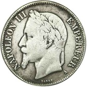 Faux de 5 francs Napoléon III, tête laurée – obverse