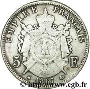 Faux de 5 francs Napoléon III, tête laurée – reverse