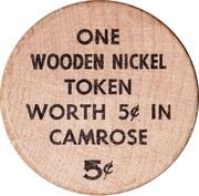 Wooden Nickel - Camrose, Alberta – reverse