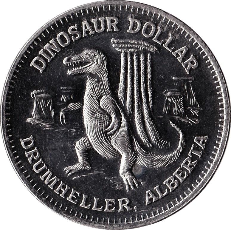Drumheller AB CANADA 1989 DINOSAUR Trade DOLLAR Token with T-Rex Among Hoodoos