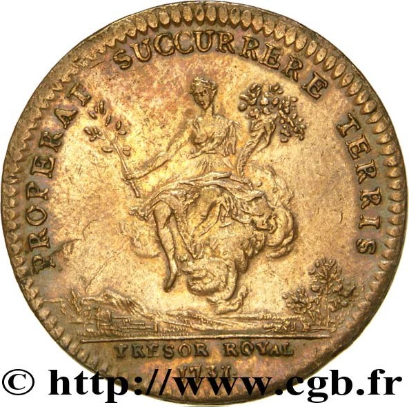 Chambre du tr sor royal louis xv 1731 tokens numista for Chambre louis xv
