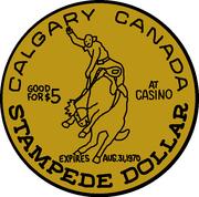 5 Stampede Dollars - Calgary, Alberta – reverse