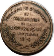 Déchéance de l'Empereur et proclamation de la république – reverse