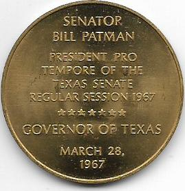 "Bill Patman ""Governor of Texas"" - * Tokens * – Numista President Pro Tempore Seal"