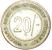 20 Shillings - Williams Bros. Direct Supply Stores Ltd – reverse