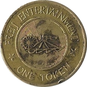 Amusement Token - Freij Entertainment (smaller inner circle, golden) – reverse