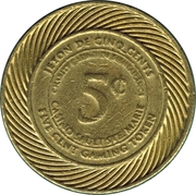5 Cents Gaming Token - Casino Sault Ste. Marie – reverse