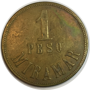 1 Peso - Miramar (Coffee harvester token) – obverse