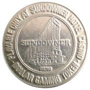 1 Dollar Gaming Token - Sundowner Hotel & Casino (Reno, Nevada) – reverse