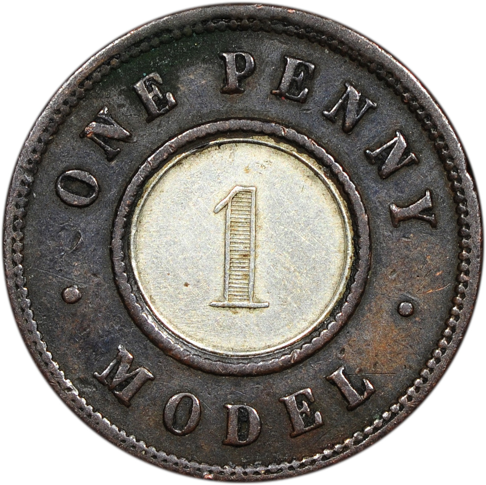 1844 Victoria One Penny Model