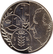 Royal Belgian Mint Token - 1 Frank – obverse