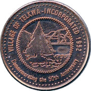 3 Dollars Telkwa Trade Token - Telkwa, British Columbia – obverse